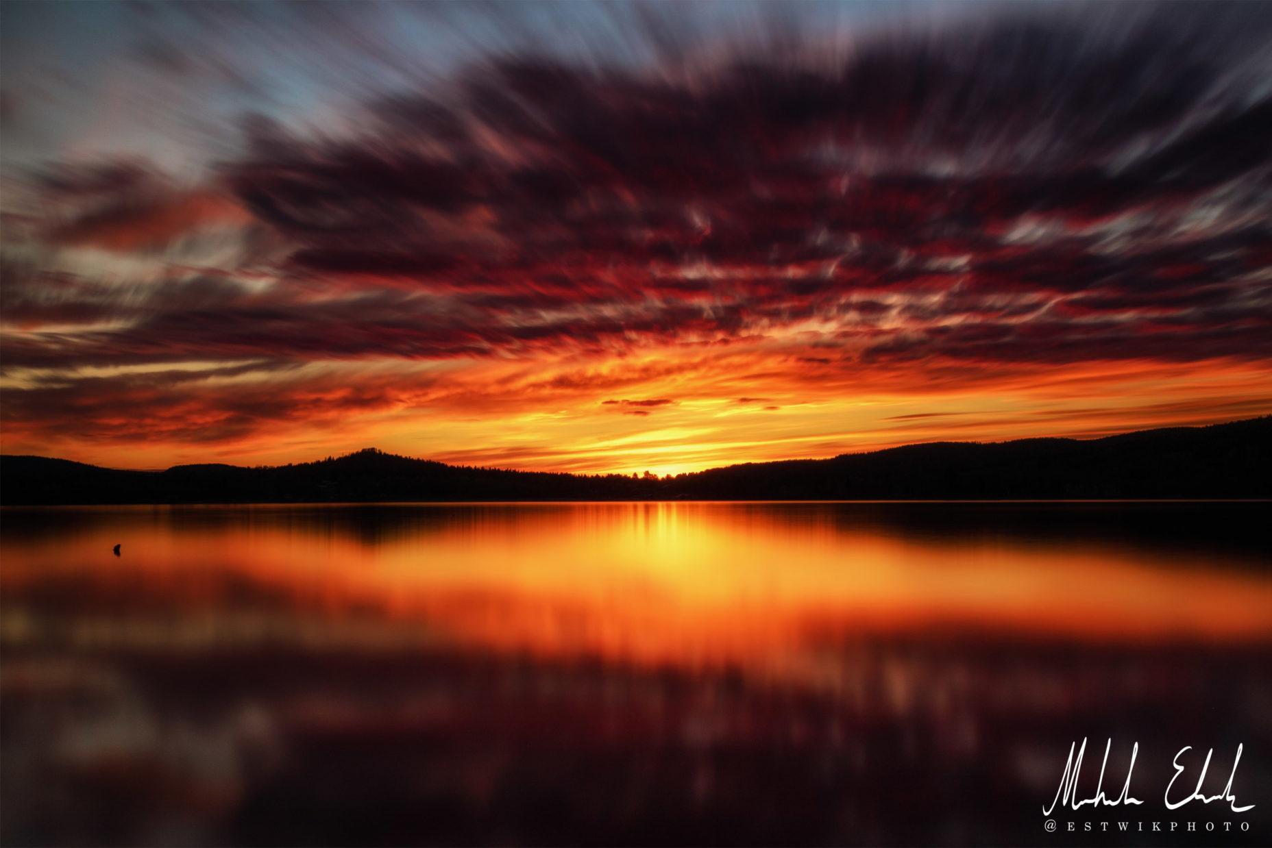 Långtidsexponering av solnedgång